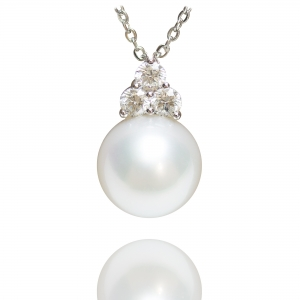 11-12mm White South Sea Pearl 18KW Pendant With Diamond