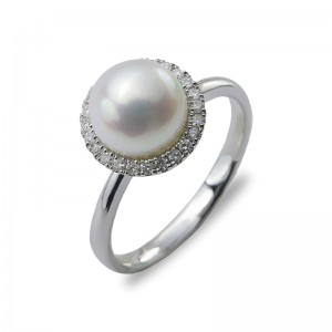 9-9.5mm Blue Akoya Pearl 18KW Halo Ring