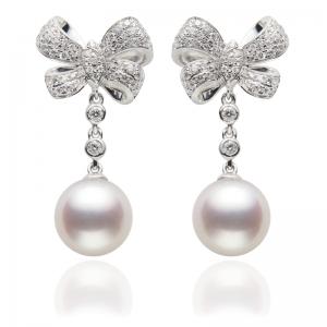 8-8.5mm Akoya Pearl 18KW Ribbon Dangle Earrings With Diamond