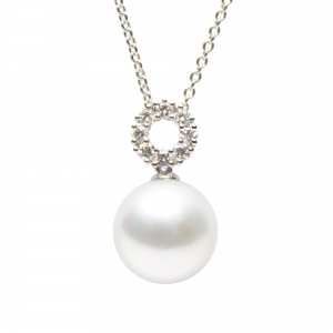 10-11mm White South Sea Pearl 18KW Pendant With Diamond