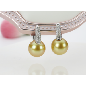 11-12mm Gold South Sea Pearl 18KW Earrings With Diamond