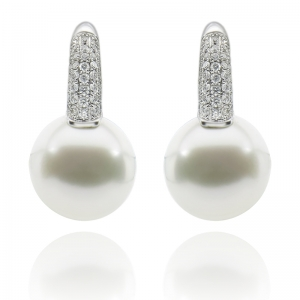 12-13mm White South Sea Pearl 18KW Earrings With Diamond