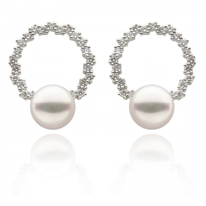 7-7.5 Akoya Pearl 18KW Hoop Earrings With Diamond