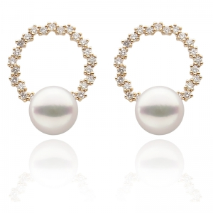 7-7.5 Akoya Pearl 18KR Hoop Earrings With Diamond