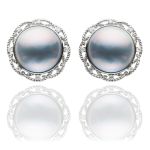 14mm-15mm Blue Mabe 18KW Stud Earrings With Diamond