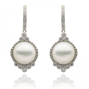 13-14mm Mabe 18KW Classic Dangle Earrings with Diamond
