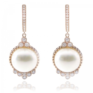 13-14mm Mabe 18KR Classic Dangle Earrings with Diamond