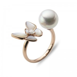 9-9.5mm Akoya 18KR Butterfly  Mother of Pearl Diamond Ring