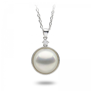 14-15mm Mabe 18KW Pendant with Diamond