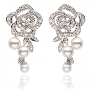 3-3.5mm Akoya Pearl 18KW Rose Dangle Earrings With Diamond
