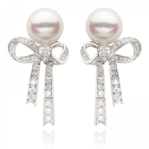8.5-9mm Akoya Pearl 18KW Ribbon Dangle Earrings With Diamond