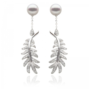 7-7.5mm Akoya 18KW Long Leaf Dangle Earrings with Diamond