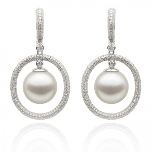 11-12mm White South Sea Pearl 18KW Earrings With Diamond