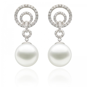 10-11mm South Sea Pearl 18KW Dangle Earrings With Diamond