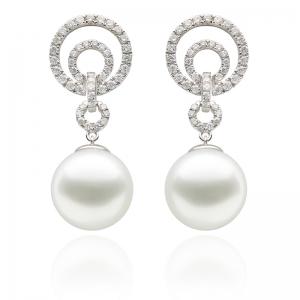 10-11mm South Sea Pearl 18KW Dangle Earrings With Diamond