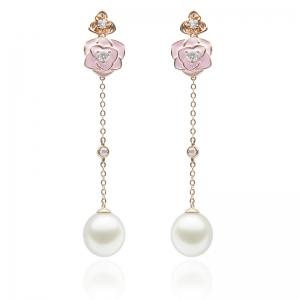 8*9mm South Sea Drop Pearl 18KR Dangle Earrings With Diamond