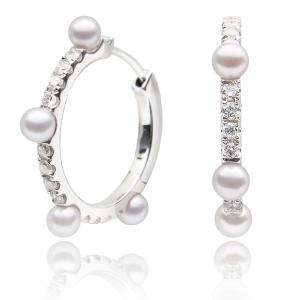 3.5-4mm Akoya 18KW Hoop Earrings with Diamond