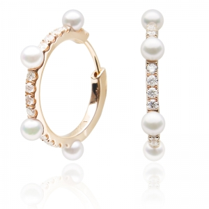 3.5-4mm Akoya 18KR Hoop Earrings with Diamond