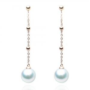8.5-9mm Blue Akoya Pearl 18KR 3 Balls Dangle Earrings