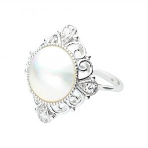 11-12mm Mabe 18KW Diamond Ring