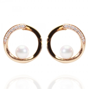 6-6.5mm Akoya 18KR Earrings With Diamond