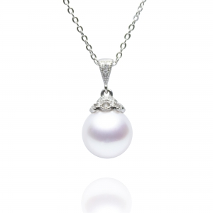 10-11mm South Sea Pearl 18KW Classic Pendent with Diamond