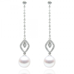 8.5-9mm Akoya 18KW Dangle Earrings With Diamond