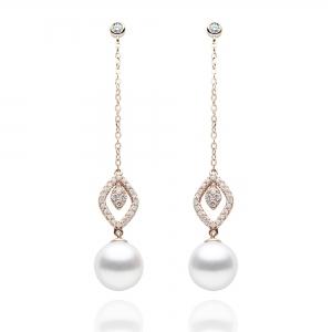 8.5-9mm Akoya 18KR Dangle Earrings With Diamond