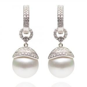 10-11mm White South Sea Pearl 18KW Dangle Earrings With Diamond