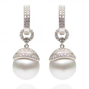 10-11mm White South Sea Pearl 18KW Dangle Earrings With Diamond