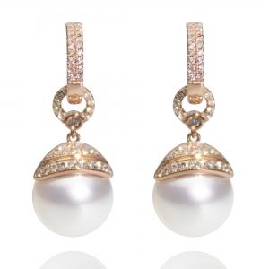 10-11mm White South Sea Pearl 18KR Dangle Earrings With Diamond