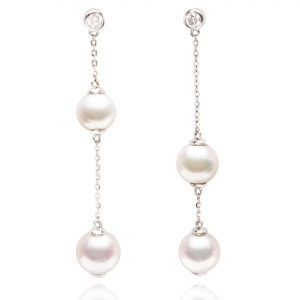 6-6.5mm&7-7.5mm Akoya Pearl 18KW 2 Balls Dangle Earrings With Diamond