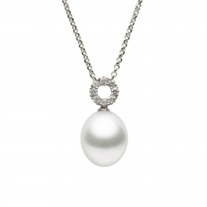 11*13mm South Sea Drop Pearl 18KW Pendant with Diamond