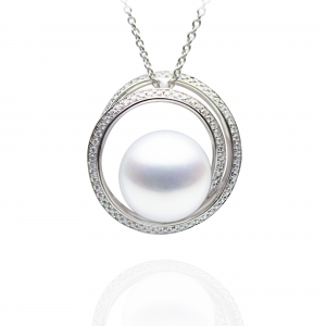 12-13mm White South Sea Pearl 18KW Pendant With Diamond