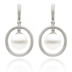 10-11mm White South Sea Pearl 18KW Earrings With Diamond