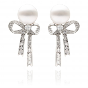 10-11mm White South Sea Pearl 18KW Ribbon Dangle Earrings With Diamond
