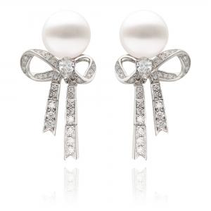 10-11mm White South Sea Pearl 18KW Ribbon Dangle Earrings With Diamond
