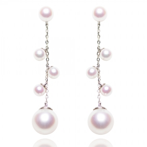 4-9mm Akoya Pearl 18KW Dangle Earrings