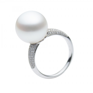 12-13mm White South Sea Pearl 18KW Ring With Diamond