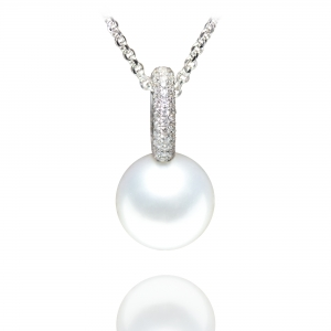 10-11mm South Sea Pendant with Diamond