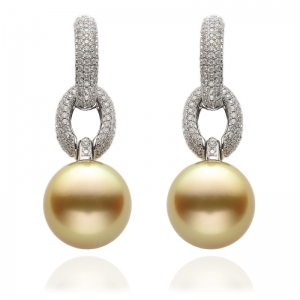 11-12mm Gold South Sea Pearl 18KW Dangle Earrings With Diamond