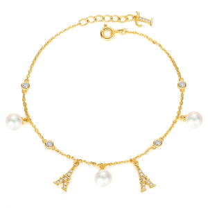 5.5-6mm Akoya Pearl 18KG Gold Plated Eiffel Tower Collection Bracelet