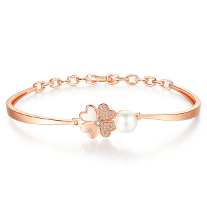 7.5-8mm Akoya Pearl 18KR Gold Plated Clover Collection Bangle