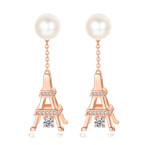 7-7.5mm Akoya Pearl 18KR Gold Plated Eiffel Tower Collection Earrings
