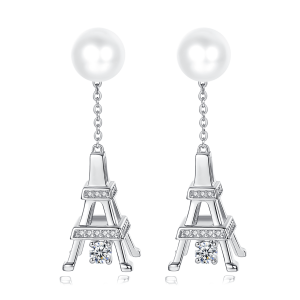 7-7.5mm Akoya Pearl 18KW Gold Plated Eiffel Tower Collection Earrings
