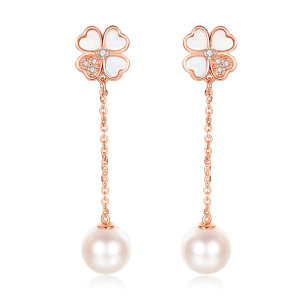 7-7.5mm Akoya Pearl 18KR Gold Plated Clover Collection Dangle Earrings