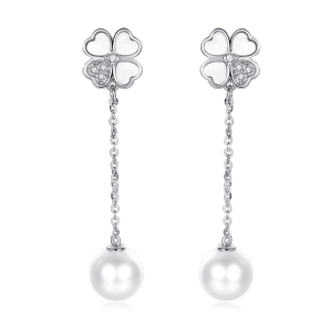 7-7.5mm Akoya Pearl 18KW Gold Plated Clover Collection Dangle Earrings