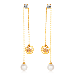 7.5-8mm Akoya Pearl 18KG Gold Plated Rose Collection Earrings