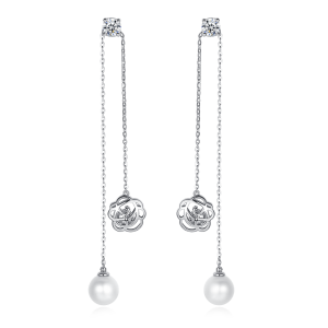 7.5-8mm Akoya Pearl 18KW Gold Plated Rose Collection Earrings