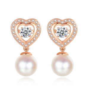 7-7.5mm Akoya Pearl 18KR Gold Plated Heart Dancing Stone Earrings